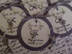 skeleton key themed wedding | Custom Antique Skeleton Key Wine Charm Favors - Weddings, Bridal ...