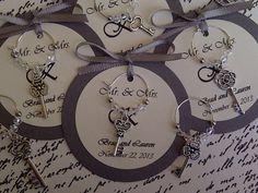skeleton key themed wedding | Custom Antique Skeleton Key Wine Charm Favors - Weddings, Bridal ...