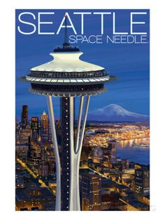 Space Needle Aerial View - Seattle, WA Art by Lantern Press at AllPosters.com