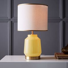 Roar + Rabbit Faceted Glass Table Lamp - Small (Yellow/Gold)