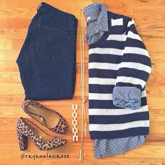 Polka for chambray, striped knit sweater, leo pumps, fall fashion