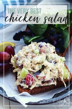 This chicken salad is the best. Creamy, savory with pops of sweetness from fresh grapes, crunch from celery + pecans. So good! Click to get our secrets. #chickensalad #howtomakechickensalad #bestchickensalad #chickensaladsandwich