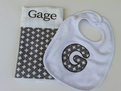 Modern Baby Gift Set in Gray Crosses // by jennypennydesigns