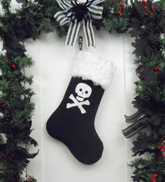 Pirate Christmas Stocking Skull and Crossbones with White Faux Fur. Available at workingclasspunx.com