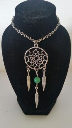 Antique silver dream catcher with green agate bead. AUS $ 10.00