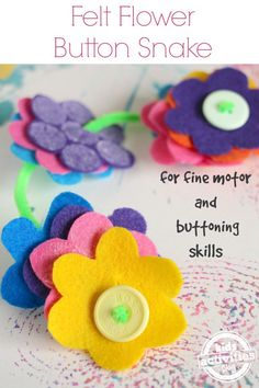 Teach your child how to button buttons with this easy no-sew felt flower button snake! Easy to make, it's a super fine-motor toddler toy!