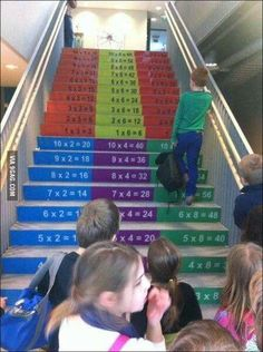Great idea to promote learning of multiplication tables in elementary schools! {Original Source not found} I School, Primary School, Elementary Schools, Middle School, Learning Spaces, Kids Learning, Visual Learning, Fun Math, Math Activities