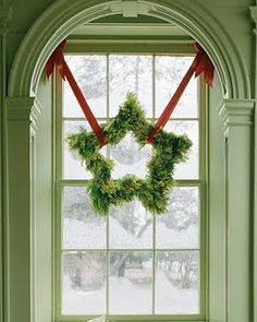 This would be perfect for a front window, hang from the blinds or the curtain rods.  Take a vine wreath and cover it with a green garland and add ribbon...