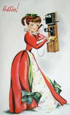 "Vintage Christmas ""hello!"" card. Images inspired by the 1890s to the 1910s were popular choices for mid-century Christmas cards."