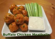 Buffalo Chicken Meatballs.  No bones, no mess, all the flavor and then some!