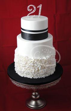 21st cake Black & White