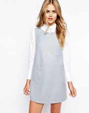 Sister Jane Shirt and Pinafore Combination Dress Saved Items, White Dress, Dresses For Work, How To Wear, Shirts, Winter, Fashion, Winter Time, Moda