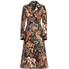Women's Stella Mccartney Floral Tapestry Long Coat ($1,625) ❤ liked on Polyvore featuring outerwear, coats, jacquard coat, brown long coat, vintage tapestry coat, stella mccartney and texture coat