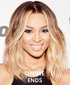 Spice up your medium length hair with ombre ends like Ciara's