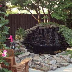 This is the waterfall and pond in my backyard :)