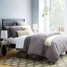 Modern Bed Frame | West Elm #bedroom | gray duvet color | patterned accent rug