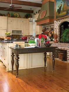 Paula Deen S Kitchen Brick Hearth And Wall That Continues Into Backsplash Under Upper Cabinets Wood Beams With Painted Tongue And Groove Boards Ivory