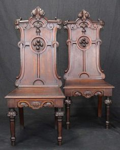 Pair of English Gothic Revival Hall Chairs