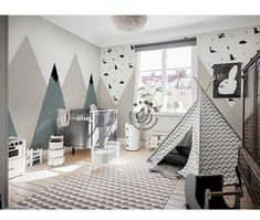Modern Simple Geometric Mountains Wallpaper Wall Mural, Geometric Triangle Mountains with Dots Wall Moderne einfache geometrische Berge Wallpaper Fototapete, einfache geometrische Dreieck Berge Wall Mur Baby Boy Rooms, Baby Bedroom, Baby Room Decor, Girls Bedroom, Nursery Wall Murals, Nursery Room, Geometric Mountain Wallpaper, Kids Homework Station, Ideas Habitaciones