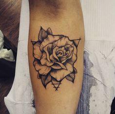 Blackwork Rose Tattoo on Forearm by Roxy Horror