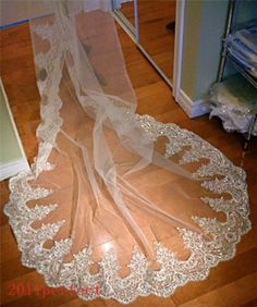 White Ivory Cathedral Beaded Applique Bridal Wedding Veil Custom Made Free Comb | eBay