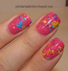 all you do is put any color of coat and then splatter some of your favorite colors...is that simple and easy!