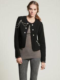 Haute Hippie black wool felted lady jacket