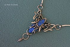 Choker necklace with lapis lazuli - copper necklace with blue-violet gemstone - a gift for a woman - wire wrapped necklace