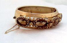 Vintage Wide Etched Bangle Bracelet  Smokey Topaz by bitzofglitz4u, $70.00 FIFI