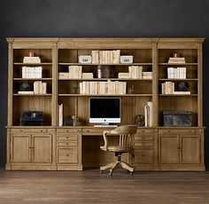 RHs Library Desk Wall System:Our solid wood bookcase system is constructed with the same care as a custom built-in. Home Library Design, Home Office Design, Office Decor, Design Desk, Desk Office, Desk Wall Unit, Bookshelf Desk, Wall Shelves, Built In Desk