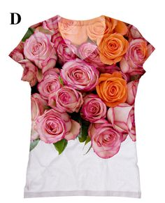 woman PLUS SIZE beautiful Roses print top t shirt by hellominky, $33.95