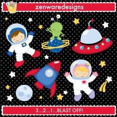 Outer Space Characters & Icons for the space explorer! This set is perfect for a space-themed birthday
