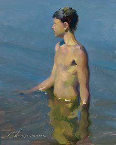 """A Swim"" Jeffrey T. Larson oil on panel ~10 x 8 inches ~2009"