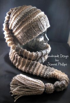 This is a scat (scarf/hat). It is loom knitted on my DaLoom's ESG adult hat loom. Scats are one of my favorite things to make!