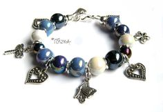 "Beaded ceramic charm bracelet - ""Marina"" by TOSZKA on Etsy"