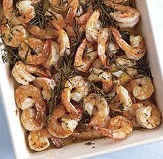 Roasted shrimp with rosemary and thyme.  This was SO good.  Probably the best shrimp I have ever had.  AND I made it with the frozen bagged shrimp, no need to spend more for fresh.  Paired with asparagus with a lemon vinaigrette and lemon and thyme orzo.  Delicious (and easy!) Lent meal!