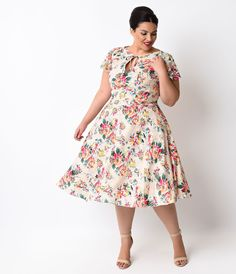 Unique Vintage Plus Size 1940s Style Pink Floral Formosa Swing Dress $98.00 AT vintagedancer.com