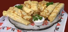 Nalysnyky is Ukrainian for crepes. I make this every January for either Ukrainian Christmas or New Years. 418 calories per serving 240 mg cholesterol protein Dill Recipes, Gourmet Recipes, Healthy Recipes, Greek Recipes, Ukrainian Recipes, Russian Recipes, Ukrainian Food, Baba Recipe, Ukrainian Christmas