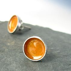 8mm Vessel, Handmade Sterling Silver Post Earrings, Honey, Amber, Gold, Enamel
