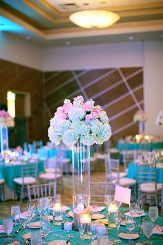 Pink and Blue Wedding Decor Luxury Pink and Tiffany Blue Wedding Ideas Wedding Flowers and Floral Design Centerpiece and Tablescape Quince Centerpieces, Quince Decorations, Quinceanera Centerpieces, Wedding Centerpieces, Wedding Table, Wedding Decorations, Wedding Ideas, Centerpiece Ideas, Trendy Wedding