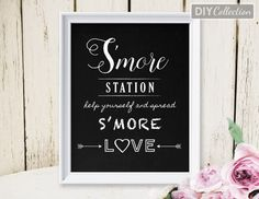 "S'more Wedding Sign, Spread S'more Love, Printable, 8""x10"" Chalkboard Sign, Instant Download, Digital Order"