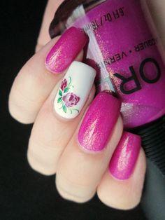 Orly Hot Tropics purple shimmer nail art