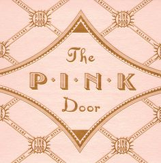 The Pink Door label by Louise Fili Ltd, reminiscent of 1930s pasticceria papers from Italy.