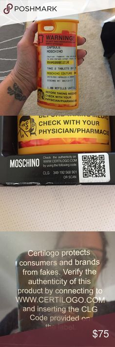 Moschino Phone Case  % authentic  % authentic Moschino Pill Bottle phone case. All original packaging with code to check authenticity. Open to reasonable offers Moschino Accessories Phone Cases