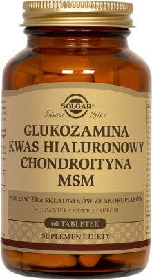 Glucosamine Hyaluronic Acid Chondroitin MSM (Shellfish-Free) Tablets Solgar Vitamins, Minerals, and Herbs. Hyaluronic Acid, Collagen, Diet Recipes, Health And Wellness, Dairy Free, Herbs, Healthy, Food, Kitchens