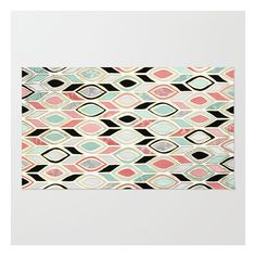 Patchwork Pattern In Coral, Mint, Black & White Rug ($28) ❤ liked on Polyvore featuring home, rugs, coral rug, chevron area rug, abstract rug, abstract area rugs and non skid rugs