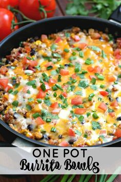 One Pot Burrito Bowls - An easy one pot meal the entire family will love. Who does love an easy dinner recipe? One Pot Burrito Bowls - An easy one pot meal the entire family will love. Who does love an easy dinner recipe? One Pot Dinners, Easy One Pot Meals, Meals For One, Healthy Dinner Recipes, Mexican Food Recipes, Cooking Recipes, Skillet Recipes, Pizza Recipes, Easy Dinner Meals