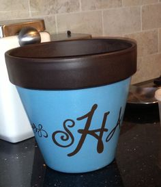 DIY - Painted flower pot. Monogrammed with Cricut vinyl.
