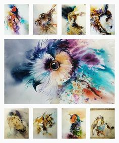 Watercolor owls, pheasants, hawk, hares and cat by Natalie Graham