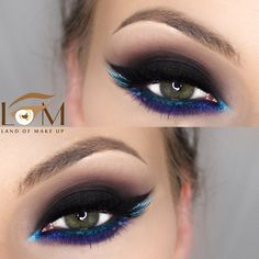 Black smokey eye blended into burgundy with pop of color on the lower lashline: petrol blue arabic (extended) eyeliner blended into purple | dramatic evening makeup @landofmakeup